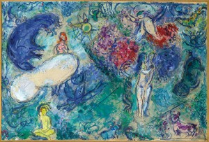 Marc Chagall, Le Paradis, oil on paper on canvas, 48x72cm, © musee national Marc Chagall, Nice, ©RMN-Grand Palais Gerard Blot, ©Adagp, Paris 2013