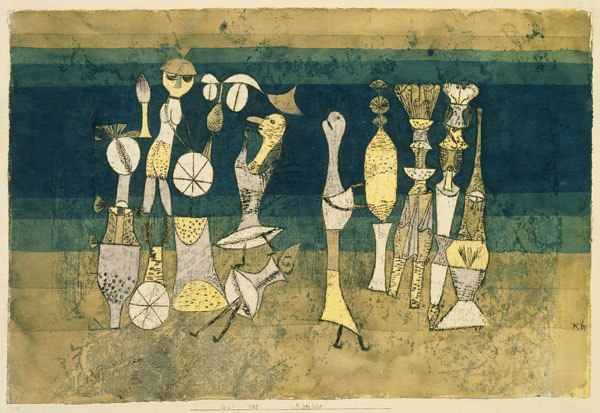 Paul Klee, Comedy, 1921  Watercolour and oil on paper  support: 305 x 454 mm  on paper, unique  Tate. Purchased 1946