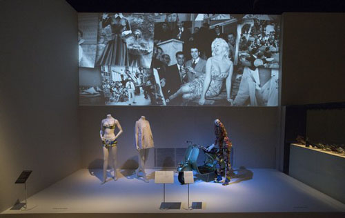 Installation view of The Glamour of Italian Fashion 1945 - 2014
