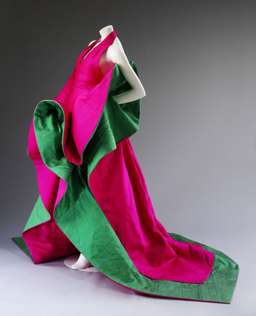 Evening dress of silk designed by Roberto Capucci in 1987-1988