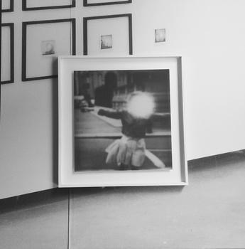 Rachel Rom Untitled (Wall I), 2014 Wood panel, wallpaper, framed polaroid 77 x 77 cm 30 1/4 x 30 1/4 in